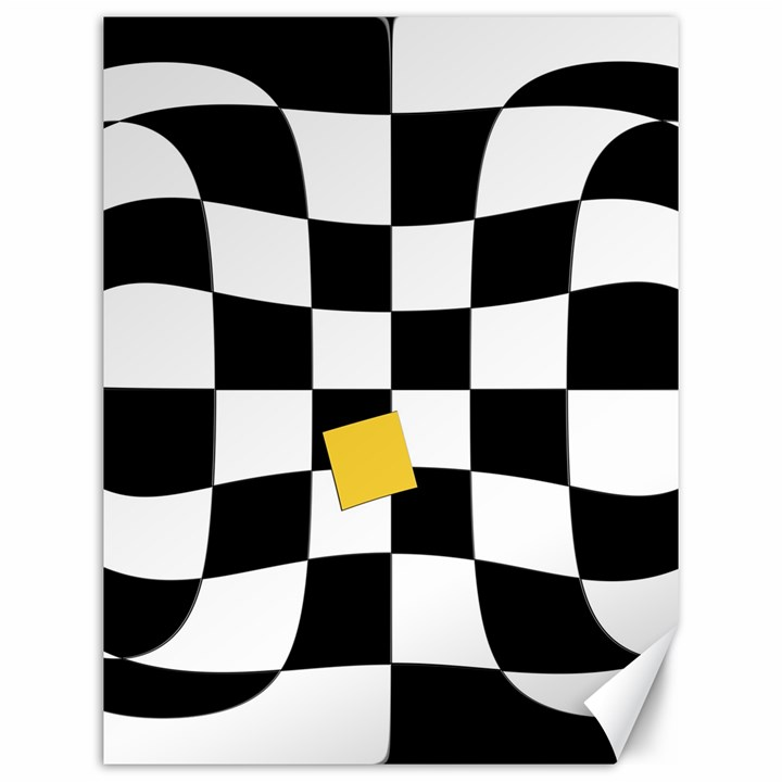 Dropout Yellow Black And White Distorted Check Canvas 12  x 16