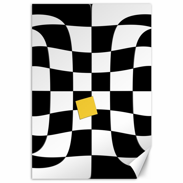 Dropout Yellow Black And White Distorted Check Canvas 12  x 18