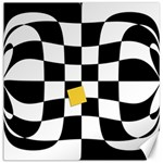 Dropout Yellow Black And White Distorted Check Canvas 16  x 16   16 x16 Canvas - 1