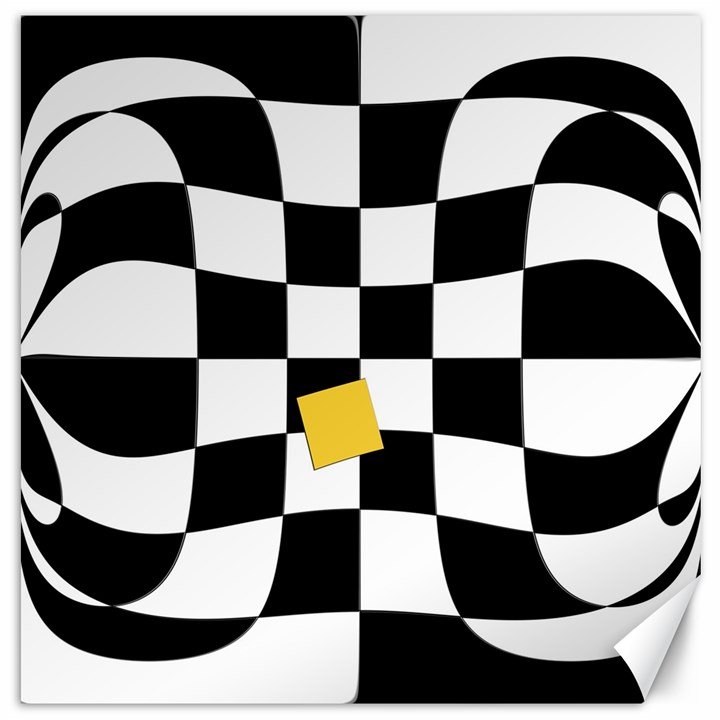 Dropout Yellow Black And White Distorted Check Canvas 20  x 20