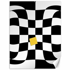 Dropout Yellow Black And White Distorted Check Canvas 36  x 48