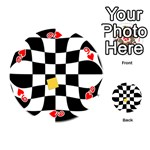Dropout Yellow Black And White Distorted Check Playing Cards 54 (Round)  Front - Heart9