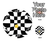 Dropout Yellow Black And White Distorted Check Playing Cards 54 (Round)  Front - Club3