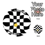 Dropout Yellow Black And White Distorted Check Playing Cards 54 (Round)  Front - Joker1