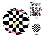 Dropout Yellow Black And White Distorted Check Playing Cards 54 (Round)  Front - Joker2
