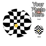 Dropout Yellow Black And White Distorted Check Playing Cards 54 (Round)  Back