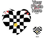 Dropout Yellow Black And White Distorted Check Playing Cards 54 (Heart)  Front - Diamond7