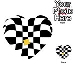 Dropout Yellow Black And White Distorted Check Playing Cards 54 (Heart)  Back