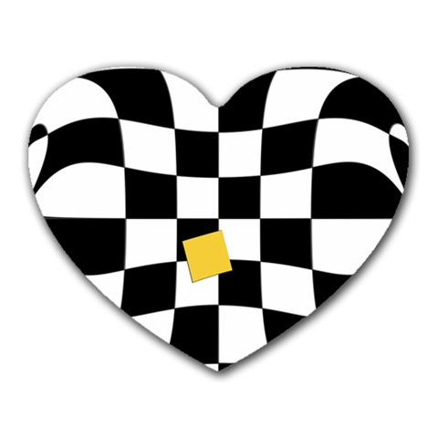Dropout Yellow Black And White Distorted Check Heart Mousepads