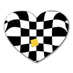 Dropout Yellow Black And White Distorted Check Heart Mousepads Front
