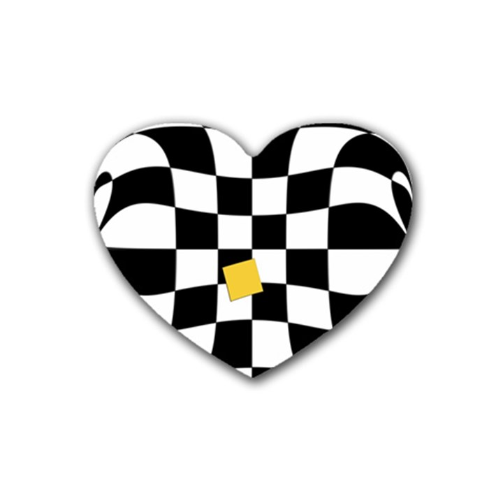 Dropout Yellow Black And White Distorted Check Rubber Coaster (Heart)