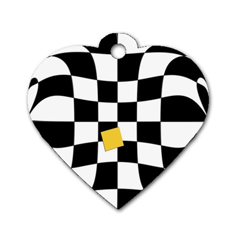 Dropout Yellow Black And White Distorted Check Dog Tag Heart (Two Sides)