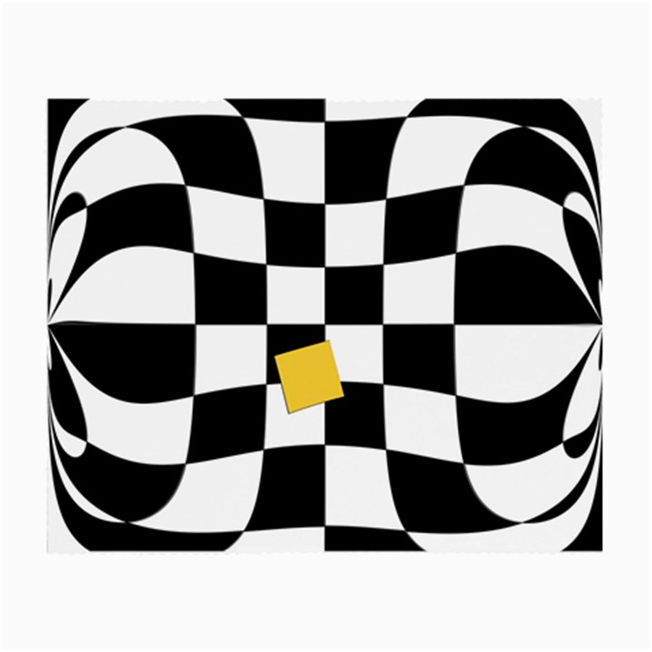 Dropout Yellow Black And White Distorted Check Small Glasses Cloth (2-Side)