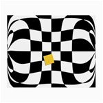 Dropout Yellow Black And White Distorted Check Small Glasses Cloth (2-Side) Back