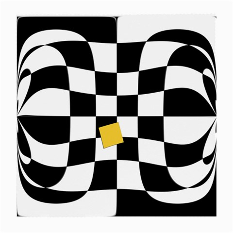 Dropout Yellow Black And White Distorted Check Medium Glasses Cloth