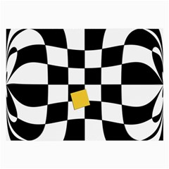 Dropout Yellow Black And White Distorted Check Large Glasses Cloth (2 Side)