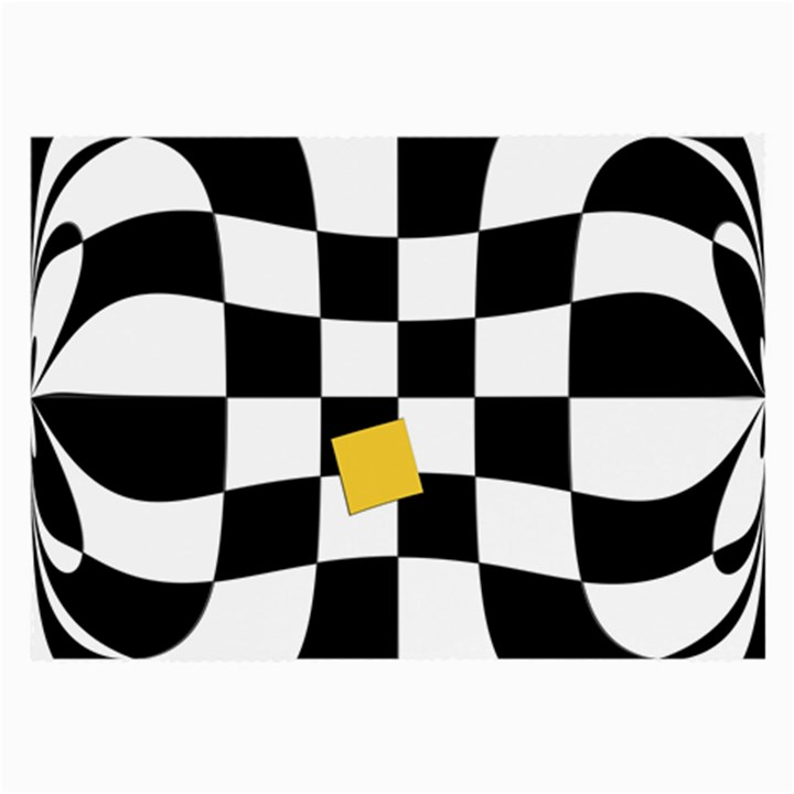 Dropout Yellow Black And White Distorted Check Large Glasses Cloth (2-Side)