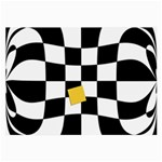 Dropout Yellow Black And White Distorted Check Large Glasses Cloth (2-Side) Back