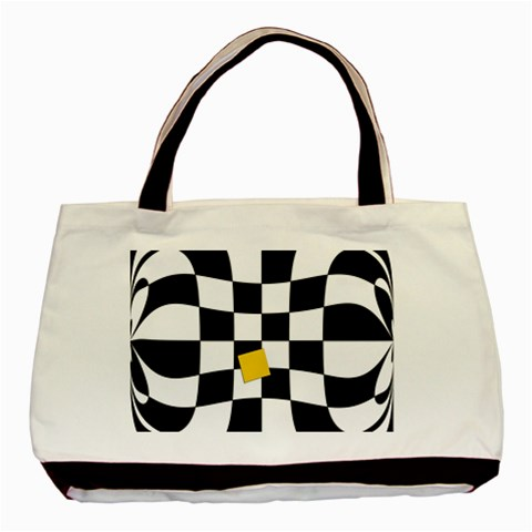Dropout Yellow Black And White Distorted Check Basic Tote Bag (Two Sides)