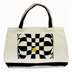 Dropout Yellow Black And White Distorted Check Basic Tote Bag (Two Sides) Back