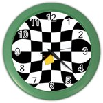 Dropout Yellow Black And White Distorted Check Color Wall Clocks Front