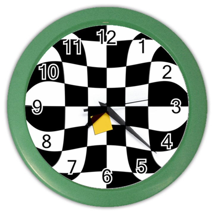 Dropout Yellow Black And White Distorted Check Color Wall Clocks