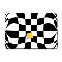 Dropout Yellow Black And White Distorted Check Small Doormat