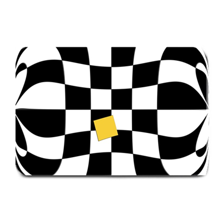 Dropout Yellow Black And White Distorted Check Plate Mats