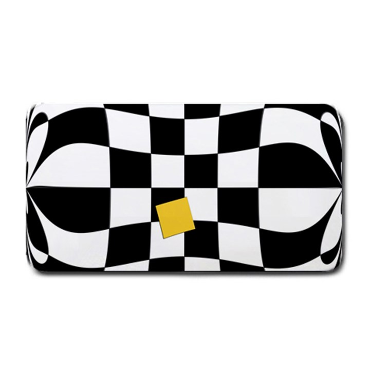 Dropout Yellow Black And White Distorted Check Medium Bar Mats