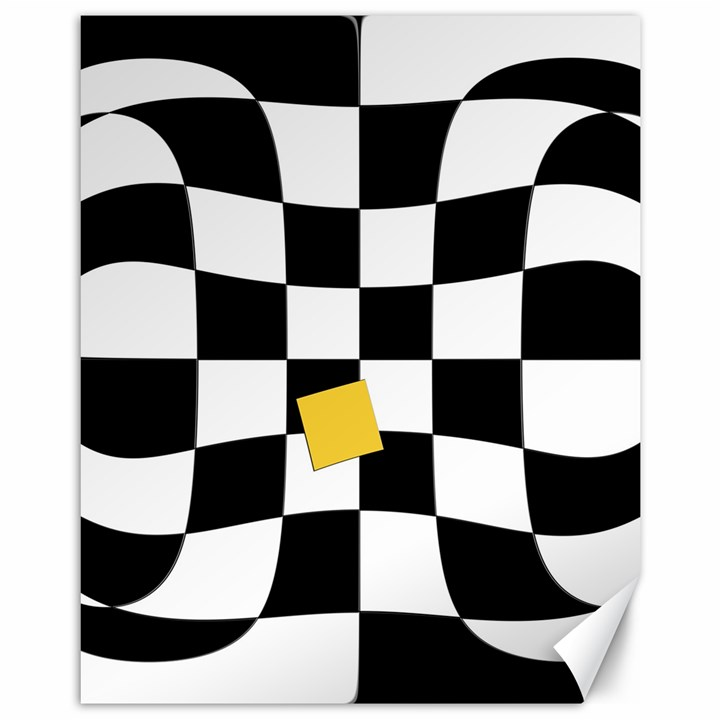 Dropout Yellow Black And White Distorted Check Canvas 11  x 14