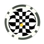 Dropout Yellow Black And White Distorted Check Poker Chip Card Guards Front