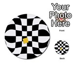Dropout Yellow Black And White Distorted Check Multi-purpose Cards (Round)  Back 1