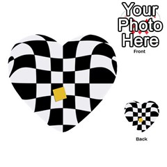 Dropout Yellow Black And White Distorted Check Multi Purpose Cards (heart)
