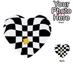Dropout Yellow Black And White Distorted Check Multi-purpose Cards (Heart)  Back 42