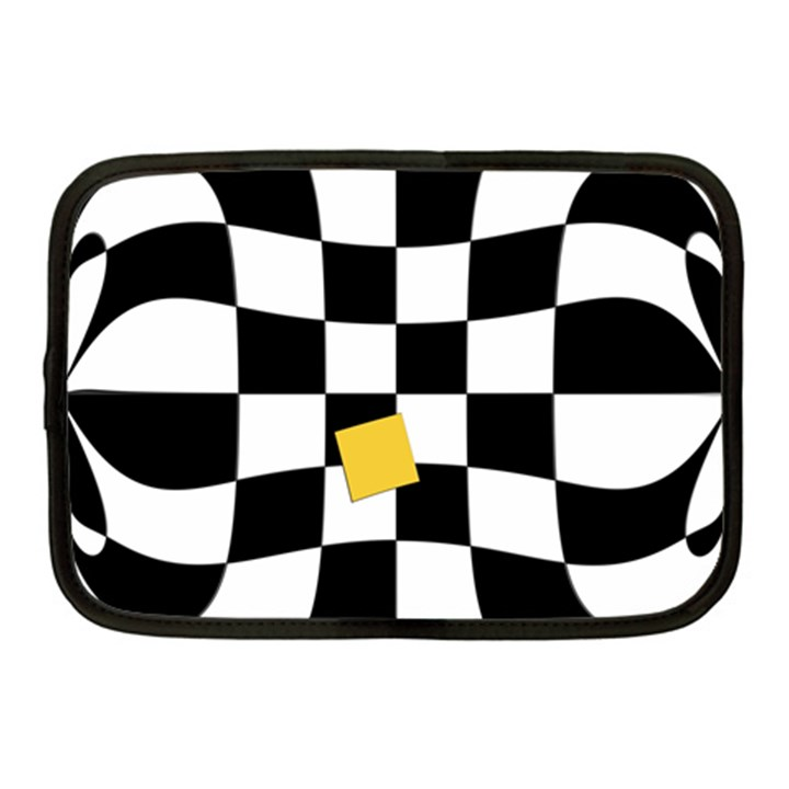 Dropout Yellow Black And White Distorted Check Netbook Case (Medium)