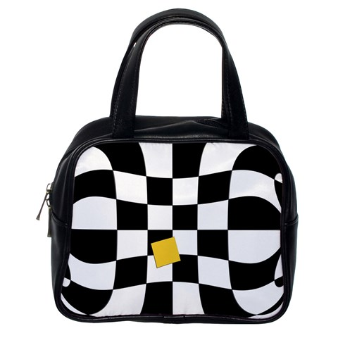Dropout Yellow Black And White Distorted Check Classic Handbags (One Side)