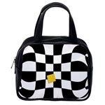 Dropout Yellow Black And White Distorted Check Classic Handbags (One Side) Front