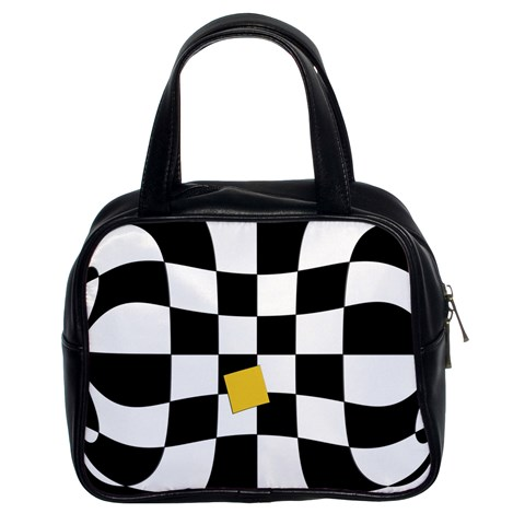 Dropout Yellow Black And White Distorted Check Classic Handbags (2 Sides)