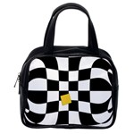 Dropout Yellow Black And White Distorted Check Classic Handbags (2 Sides) Back