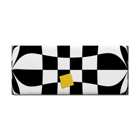 Dropout Yellow Black And White Distorted Check Hand Towel