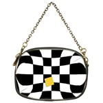 Dropout Yellow Black And White Distorted Check Chain Purses (One Side)  Front