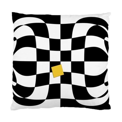 Dropout Yellow Black And White Distorted Check Standard Cushion Case (Two Sides)