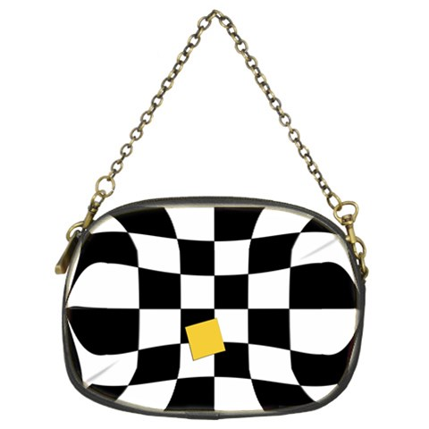 Dropout Yellow Black And White Distorted Check Chain Purses (Two Sides)