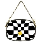 Dropout Yellow Black And White Distorted Check Chain Purses (Two Sides)  Front