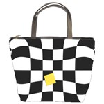 Dropout Yellow Black And White Distorted Check Bucket Bags Front