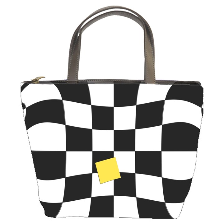 Dropout Yellow Black And White Distorted Check Bucket Bags