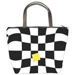 Dropout Yellow Black And White Distorted Check Bucket Bags Back
