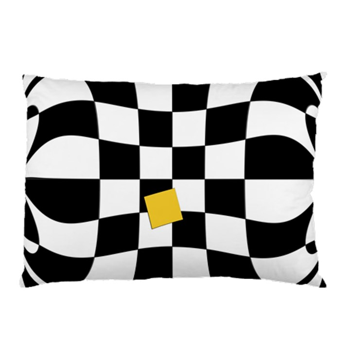 Dropout Yellow Black And White Distorted Check Pillow Case