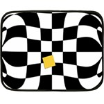 Dropout Yellow Black And White Distorted Check Fleece Blanket (Mini) 35 x27 Blanket