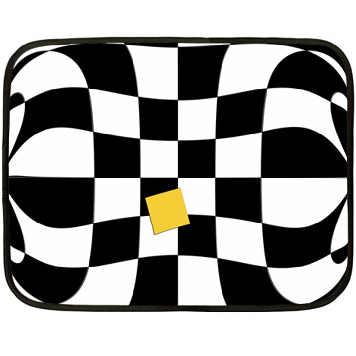 Dropout Yellow Black And White Distorted Check Fleece Blanket (Mini)